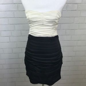 Express Strapless Ivory and Black Dress Size 2